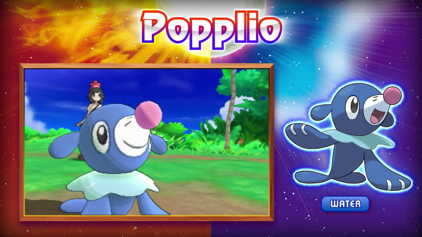 Pokemon Sun and Moon starter water starter popplio